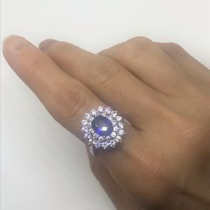 Cocktail Ring with Blue Stone Size 7